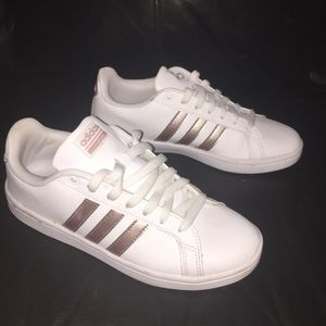 White & rose gold Adidas sneakers size 8